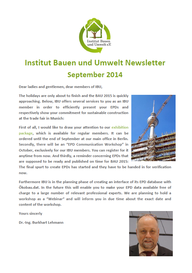 Newsletter Institut Bauen und Umwelt